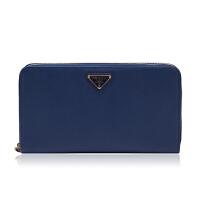 Prada/普拉达深蓝色牛皮材质金属logo装饰女士长款钱夹