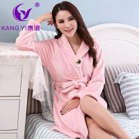 香港康谊睡衣女冬 珊瑚绒新款女士纯色 睡衣睡袍厚款家居服浴袍女