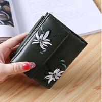女士钱包女短款学生韩版搭扣樱桃刺绣绣花短款卡包小钱夹手拿包
