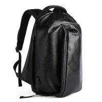 PU皮潮流男士大容量旅行大学生个性书包15寸电脑包男 黑色