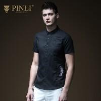 PINLI品立2020夏季新款男�b棉麻�C花短袖�r衫修身�r衣B192513568