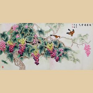 《硕果腾紫气》精品葡萄,中国女工笔画协会委员,纯手绘带作者防伪钢印【真迹R717】