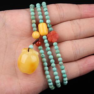 原矿高瓷绿松石圆珠DIY手串 配蜜蜡苹果吊坠 重量14.79g