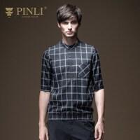 PINLI品立2020夏季新款男装立领中袖格子短袖衬衫上衣日常百搭