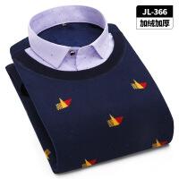 冬季保暖针织衫假两件加绒加厚男士长袖带绒针织衬衣套头背心毛衣 J-366
