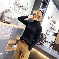 高领毛衣女春装新款女装2018韩版时尚潮款纯色坑条套头针织衫长袖 黑色 均码