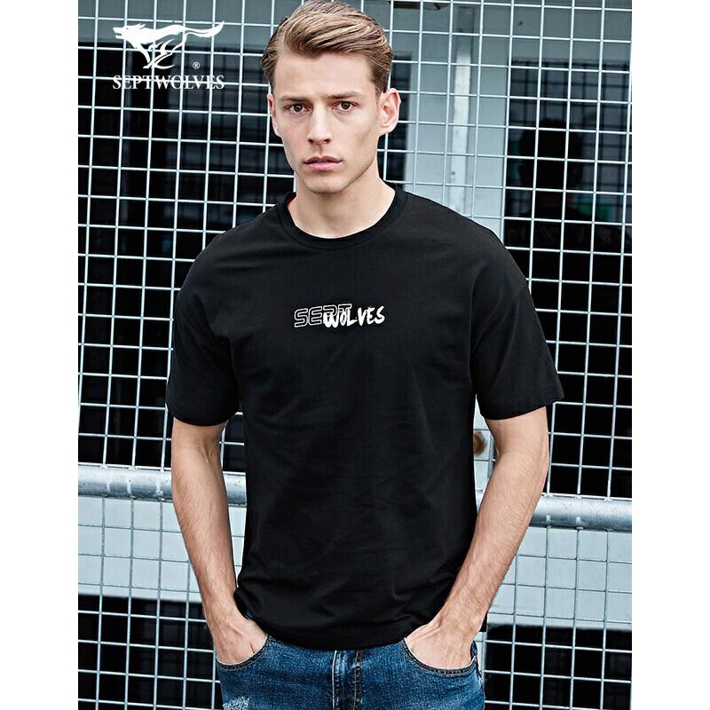 七匹狼运动T恤男装 夏季新品圆领短袖纯棉宽松薄款耐穿透气上衣 黑色 3XL/190A