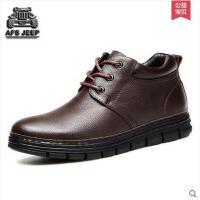 Afs Jeep/战地吉普 商务休闲鞋加绒保暖系带皮鞋英伦真皮男鞋53279