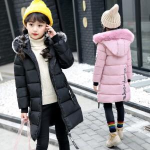 百槿 冬季女童连帽毛领时尚清新棉服 中大童淑女连帽时尚印花毛领棉服