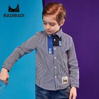 【2件3折:59】巴拉巴拉旗下 巴帝巴帝童装男童蓝白条纹长袖衬衫19春新款儿童撞色拼接