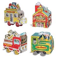 迷你车迷你屋玩具书系列4册 纸板书 原版 Mini Wheels Mini Express