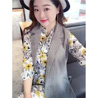 胖mm大码女装2018春装新款中长款显瘦西装马甲韩版修身背心外套女 灰色 现货