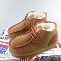 新款女童靴子羊皮毛一体雪地靴男童真皮宝宝棉鞋子短靴季 驼色 35