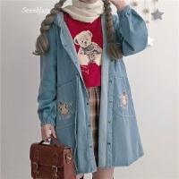 春装女装韩版学院风可爱卡通小熊刺绣中长款风衣外套牛仔连衣裙子 图片色 均码