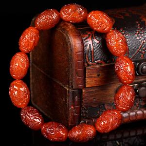 蜜蜡满蜡雕刻龙手串 直径11.5mm 重量14.17g