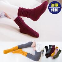 宝宝袜子秋加厚毛巾袜儿童袜子1-3-5-7-9岁小孩中大童男女中筒 彩色堆堆袜毛圈5双 袜筒非毛圈