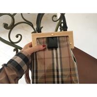 格子木夹子包208春夏新款女包手提单肩斜挎包休闲时尚条纹透明包