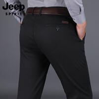 JEEP吉普男装秋冬款直筒加大码长裤加绒加厚休闲裤9001D男士长裤