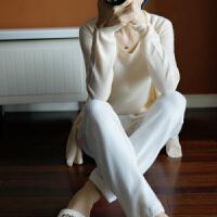 春秋新款纯羊绒两件套披肩开衫纯色短款吊带背心针织外套休闲套装