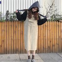 秋冬女装韩版宽松显瘦纯色大口袋背带裙中长款无袖连衣裙学生长裙