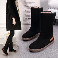 2018新款冬季加厚雪地靴女短靴保暖内增高平底学生棉鞋加绒中筒靴
