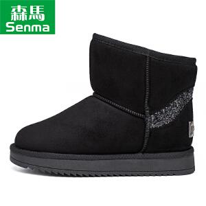 森马厚底棉靴女冬2017新款 加绒加厚亮片雪地靴时尚保暖短筒靴潮