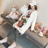 韩版孕妇装春装套装2018新款潮妈卡通卫衣休闲连衣裙时尚款两件套 套装