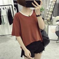 纯色上衣女夏装新款韩版半袖女装宽松百搭学生短袖T恤女体恤 橘红 M