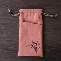 适用于iPhone6s荣耀8小米棉绒布袋防尘挂脖手机套5寸通用保护布套 粉