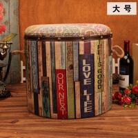美式储物收纳凳 创意木质皮革凳餐椅子时尚茶凳吧凳复古换鞋凳子