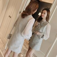 新款无袖背带毛呢连衣裙套装女春韩版网纱格子背心裙两件套4288 浅灰