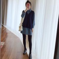 早秋季女套装2018秋冬新款女小香风衬衣配马甲毛衣背心裙子两件套 深蓝毛衣马甲+蓝色连衣裙