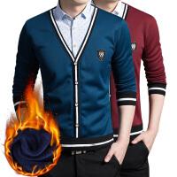 冬装男士加绒保暖衬衫加厚长袖套头保暖衬衫男假2件毛衣外套