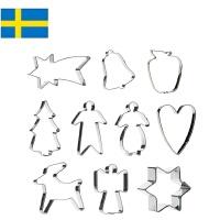 【当当海外购】瑞典进口Orthex 不锈钢烘焙饼干曲奇模具水果切模10件套装 欧式Party主题(11cm)
