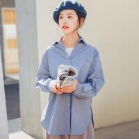 衬衫 女士侧开叉2019韩版春季新款长袖上衣女式宽松休闲时尚纯色学生衬衣