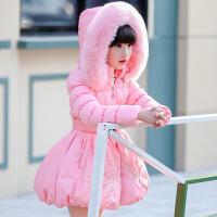 童装女童棉衣外套装2017新款中大童儿童公主加厚中长款棉袄