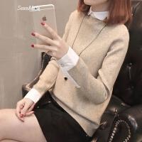 毛衣女士针织短款假两件打底衫女装春装2018新款女韩版时尚百搭潮 驼色 S