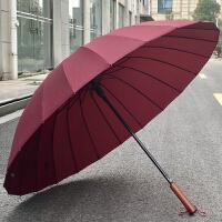 男士用伞113cm二十四骨晴雨伞长柄伞自动24骨伞防风实木柄带伞套