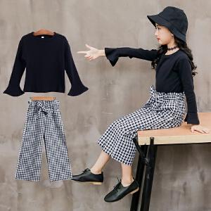 童装2019春秋季新款女童格子裤套装儿童长袖T恤+格子长裤两件套