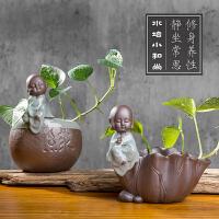 小和尚陶瓷花器紫砂哥窑创意家居办公室摆件花瓶花盆水培