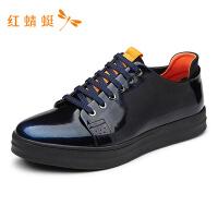 红蜻蜓春季新款真皮正品英伦休闲皮鞋韩版软皮单鞋男WZA6668-T