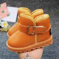 宝宝棉鞋1-3岁季男加绒婴幼儿童雪地靴女童防滑防水皮面保暖2岁