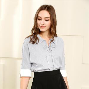 欧莎2017夏装新款女装黑白条纹系带衬衫B12014
