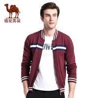骆驼男装 秋季新款青年流行立领拼色开衫修身长袖毛衣男毛线衣