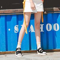 毛菇小象魔术贴沙滩凉鞋女士2019新款夏学生平底速干复古休闲鞋子