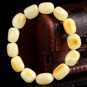 珍稀白蜜蜡随形手串    直径12mm