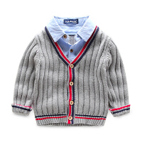 儿童毛衣开衫线衫男宝宝线衣童装假两件衬衫女春秋针织衫男童春装