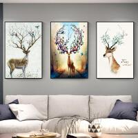 北欧风格装饰画现代简约墙画家居日用客厅壁画沙发背景墙麋鹿挂画三联画