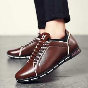 新款男士商务正装皮鞋圆头男鞋黑色潮鞋韩版球季透气英伦休闲鞋子男