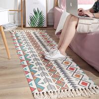 地毯 民族风棉麻地垫复古素色挂毯手工地毯书房卧室沙发垫